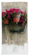 Flower Pots On Old Wall Beach Towel