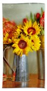Flowers In Cans Beach Towel