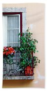 Flowery Balcony Beach Towel by Carlos Caetano