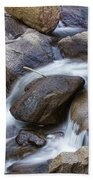 Flowing Water Down The Colorado St Vrain River Beach Towel