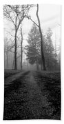 Foggy Lane By The Lake Beach Towel