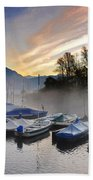 Foggy Port In Sunrise Beach Towel