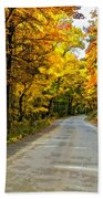 Follow The Yellow Leafed Road Painted Beach Towel