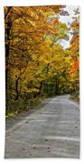 Follow The Yellow Leafed Road Beach Towel