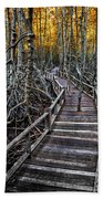Footpath In Mangrove Forest Beach Towel by Adrian Evans