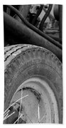 Ford Tractor Details In Black And White Beach Towel