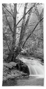 Forest Creek Waterfall In Black And White Beach Towel