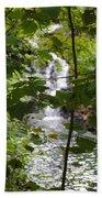 Forest Waterfall Beach Towel