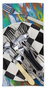 Forks On Checker Plate Beach Towel