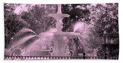 Forsyth Park Fountain In Pink Beach Towel
