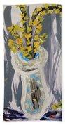 Forsythia In Old Clear Vase Mary Carol Beach Towel