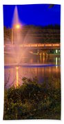 Fountain And Bridge At Night Beach Towel