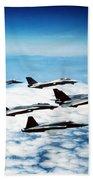 Four F-14 Tomcats And Three F-5 Tiger Beach Towel