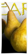 Four Pears With Yellow Lettering Beach Towel
