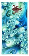 Fractal And Swan Beach Towel by Odon Czintos