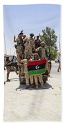 Free Libyan Army Troops Pose Beach Sheet