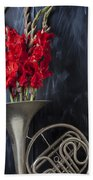 French Horn With Gladiolus Beach Towel