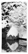 Fresh Snow And Reflections In A Japanese Garden 1 Beach Towel