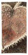 Frosted Fall Leaves Beach Towel