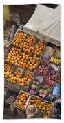 Fruit Vendor In The Kahn Beach Towel by Mary Machare