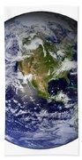 Full Earth Showing North America White Beach Towel