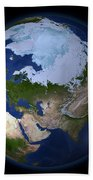 Full Earth Showing The Arctic Region Beach Towel by Stocktrek Images