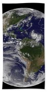 Full Earth Showing Two Tropical Storms Beach Towel