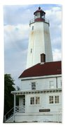 Full View Of Sandy Hook Lighthouse Beach Towel