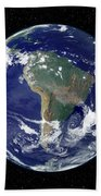 Fully Lit Earth Centered On South Beach Towel by Stocktrek Images