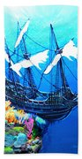 Galleon On The Cliff Filtered Beach Towel