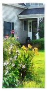 Garden With Coneflowers And Lilies Beach Sheet