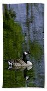 Geese On The Pond Beach Towel