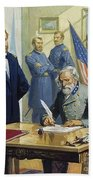 General Ulysses Grant Accepting The Surrender Of General Lee At Appomattox  Beach Towel by Severino Baraldi