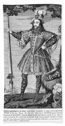 George Cumberland (1558-1605). George De Clifford Cumberland. 3rd Earl Of Cumberland. English Naval Commander And Courtier. Line Engraving, English, Early 19th Century Beach Towel