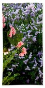 Geranium And Lilac Painting Beach Towel