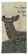 Get Well Card - Whitetail Deer In Velvet Beach Towel