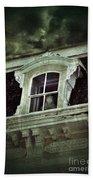 Ghostly Girl In Upstairs Window Beach Towel by Jill Battaglia