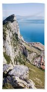 Gibraltar Rock And Mediterranean Sea Beach Towel