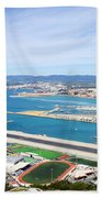 Gibraltar Runway And La Linea Cityscape Beach Towel