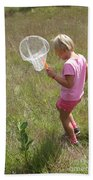 Girl Collecting Insects In A Meadow Beach Towel