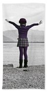 Girl On The Shores Of Lake Maggiore Beach Towel