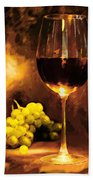 Glass Of Wine And Green Grapes By Candlelight Beach Towel