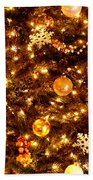 Glowing Golden Christmas Tree Beach Towel