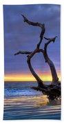 Glowing Sands At Driftwood Beach Beach Towel by Debra and Dave Vanderlaan