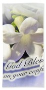 God Bless You On Your Confirmation Floral Greeting Card Beach Towel