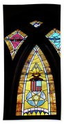 Gold Stained Glass Window Beach Towel