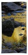 Golden Fall Reflection Beach Towel
