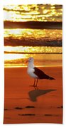 Golden Sunrise Seagull Beach Towel