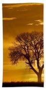 Golden Sunrise Silhouette Beach Sheet