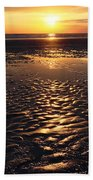 Golden Sunset On The Sand Beach Beach Towel by Setsiri Silapasuwanchai